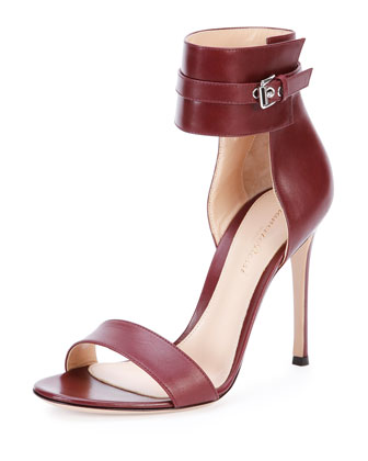 Leather Ankle-Wrap Sandal, Burgundy