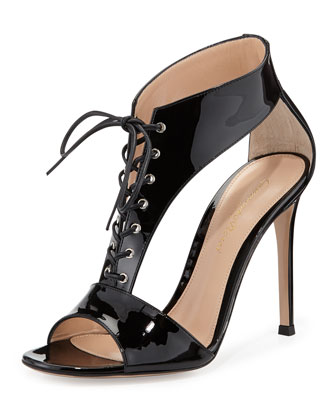 Patent Leather T-Strap Lace-Up Sandal