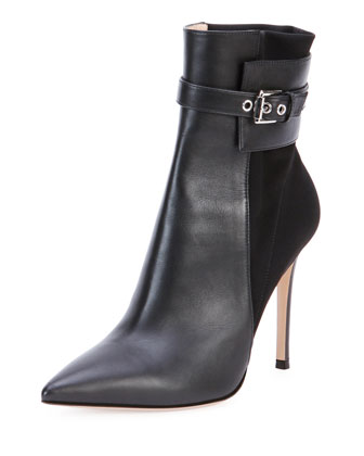 Leather Stretch-Back Ankle Boot, Black