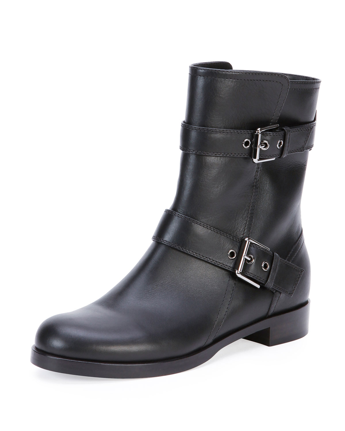 Leather Double Buckle Ankle Boot, Black   Gianvito Rossi   Black (38.0B/8.0B)