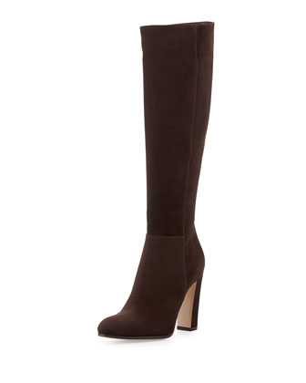 Suede Knee Boot, Dark Brown