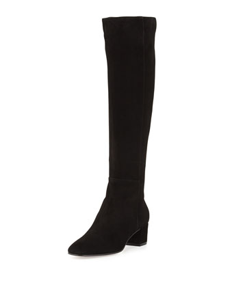 Low-Heel Suede Knee Boot, Black