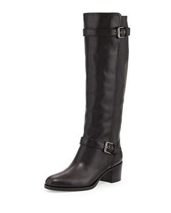 Double-Buckled Leather Knee Boot, Black