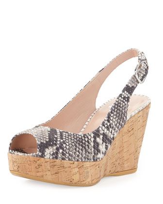 Jean Snake-Print Cork Wedge, Natural (Made to Order)