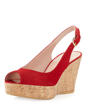 Jean Suede Cork Wedge, Red (Made to Order)
