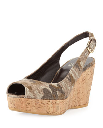 Jean Linen Cork Wedge, Tan Camo (Made to Order)
