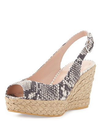 Jean Snake-Print Jute Wedge, Natural (Made to Order)