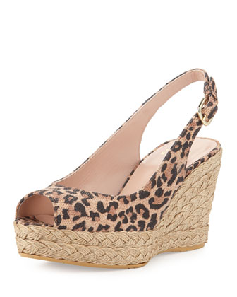 Jean Leopard-Print Suede Jute Wedge (Made to Order)