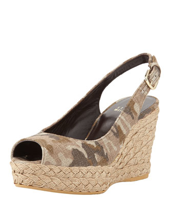 Jean Linen Jute Wedge, Tan Camo (Made to Order)