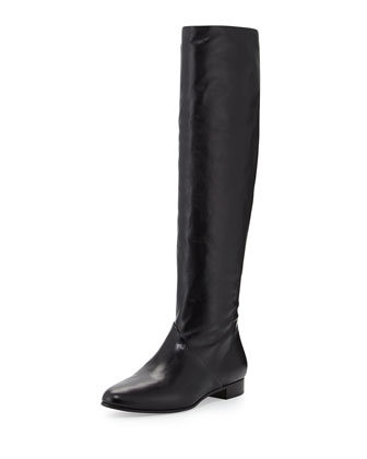Leather Flat Knee Boot, Nero