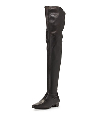 Leather Over-the-Knee Boot, Nero