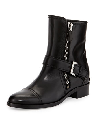 Side-Zipper Flat Ankle Boot
