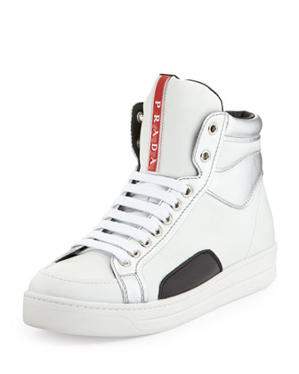 Metallic-Trim High-Top Sneaker