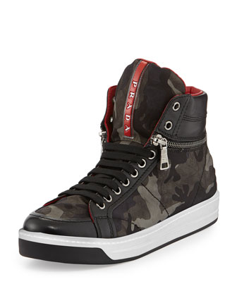 Camo-Print Nylon Zip-Side Sneaker