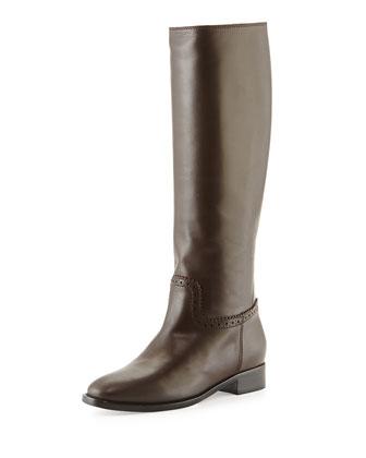 Calfskin Flat Knee Boot, Charbon