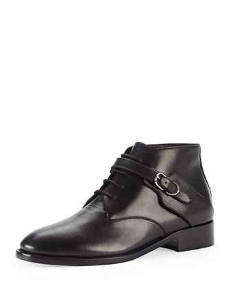 Buckle-Strap Lace-Up Ankle Boot, Black