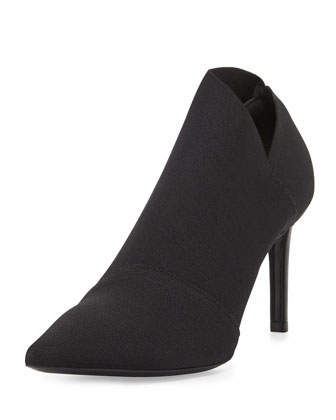 Stretch Point-Toe Bootie, Black