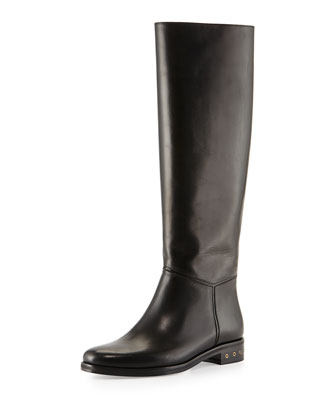 Screw-Heel Leather Knee Boot, Black