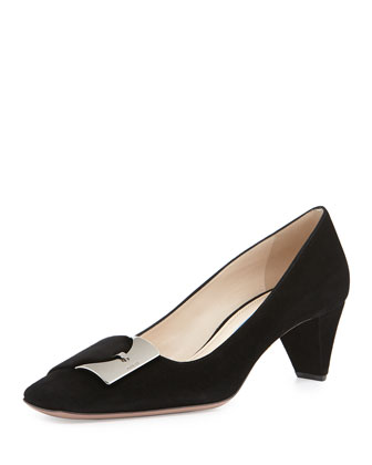 Low-Heel Suede Buckle Pump, Black