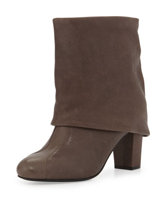 Cuffed Leather Bootie