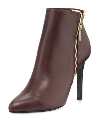 Cap-Toe Metal-Trim Ankle Boot