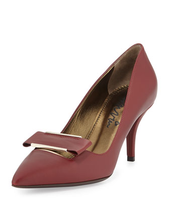 Leather Point-Toe Buckle Pump, Burgundy