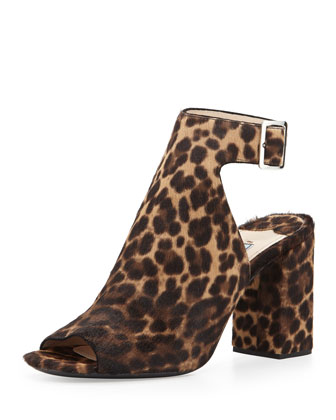 Peep-Toe Calf Hair Sandal, Leopard