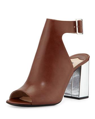 Chunky Metallic Calfskin Glove Sandal, Tan