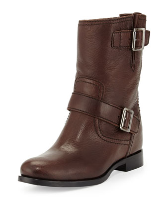 Flat Double-Buckle Moto Boot, Dark Brown