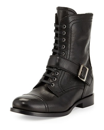 Cap-Toe Combat Boot with Strap