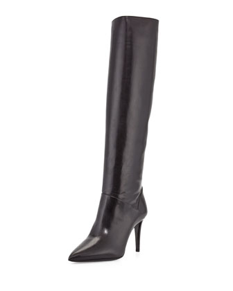 Leather Pointed-Toe Knee Boot