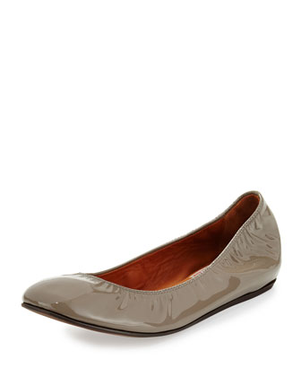 Patent Leather Ballerina Flat, Gray