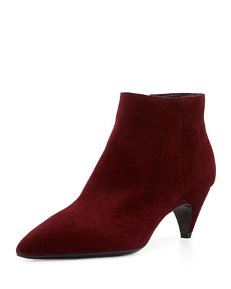 Mid-Heel Suede Ankle Bootie, Dark Red
