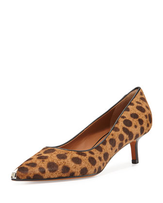 Leopard-Print Calf Hair Kitten Pump