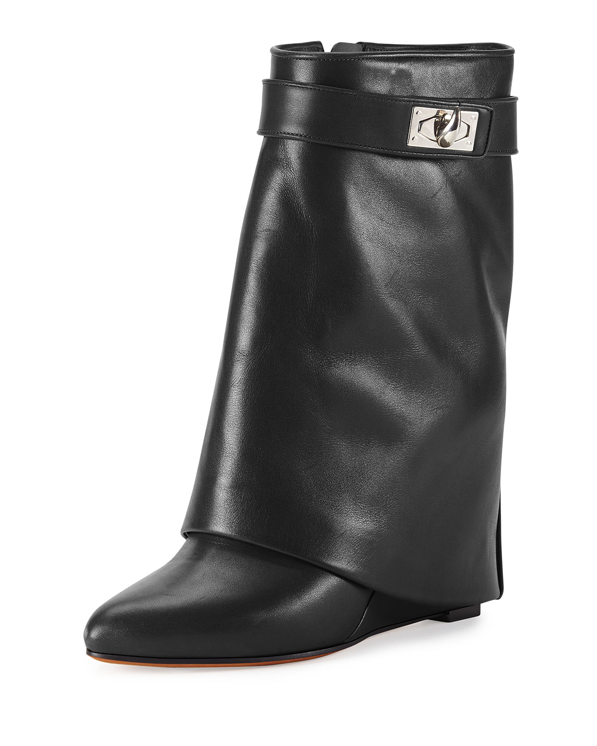 Calfskin Shark-Lock Fold-Over Bootie, Black - Givenchy