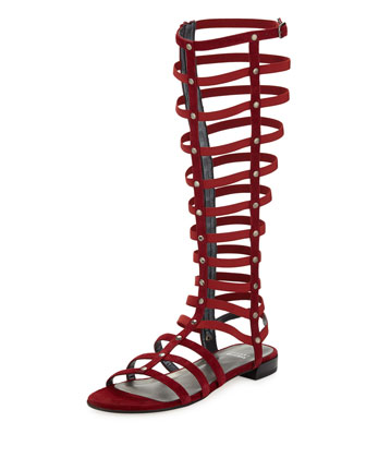 Gladiator Tall Suede Sandal, Scarlet (Made to Order)