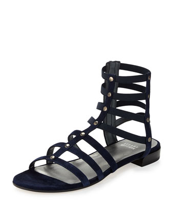 Caesar Suede Gladiator Sandal, Nice Blue (Made to Order)