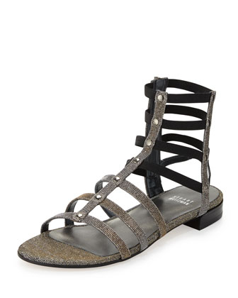Caesar Glitter Fabric Gladiator Sandal, Pyrite (Made to Order)