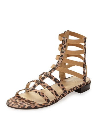 Caesar Suede Gladiator Sandal, Tan Leopard (Made to Order)
