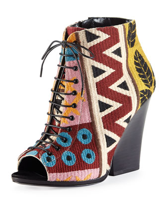 Prorsum Tapestry Lace-Up Peep-Toe Bootie