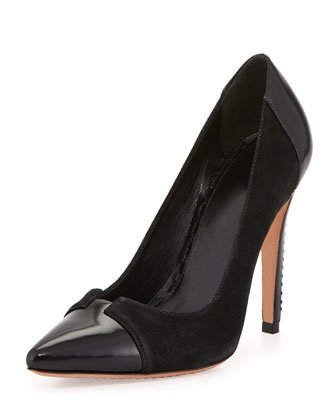 Damsel Suede Cap-Toe Pump, Black