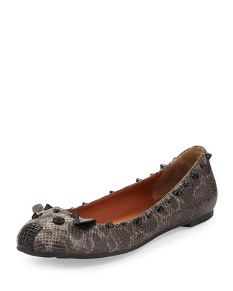 Snake-Embossed Studded Mouse Ballet Flat, Gray
