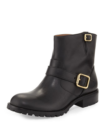 Double-Buckle Motorcycle Ankle Boot, Black