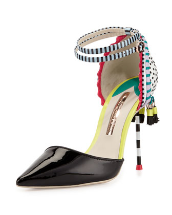 Xavier Point-Toe Tassel Pump, Black/White