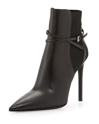 Pointed Stretch Ankle-Strap Bootie