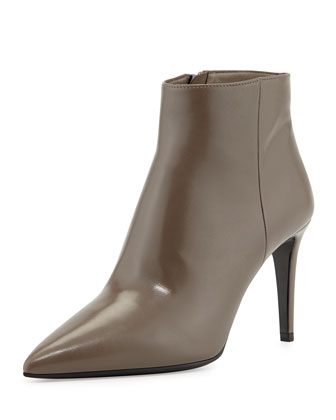Zip Pointy Calfskin Bootie, Gray