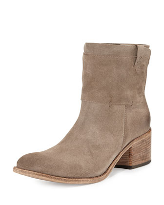 Monza Suede Snap-Panel Bootie, Sandy