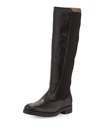Lia Leather Stretch Knee Boot, Nero