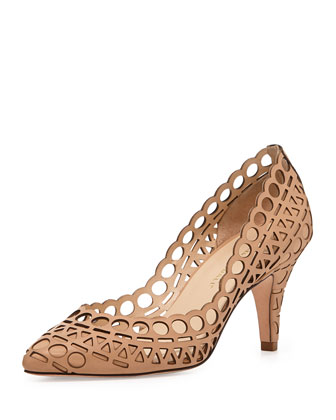 Tali Laser-Cut Leather Pump, Buff