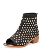 Ione Studded Open-Toe Ankle Boot